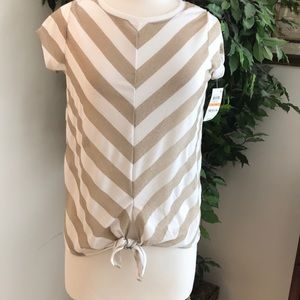 ❤️NWT❤️ INC Gold Sparkle and White Blouse